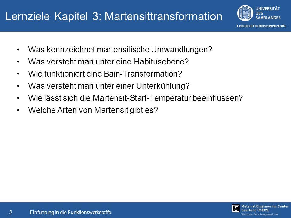 Einführung in die Funktionswerkstoffe2 Lehrstuhl Funktionswerkstoffe Lernziele Kapitel 3: Martensittransformation Was kennzeichnet martensitische Umwa