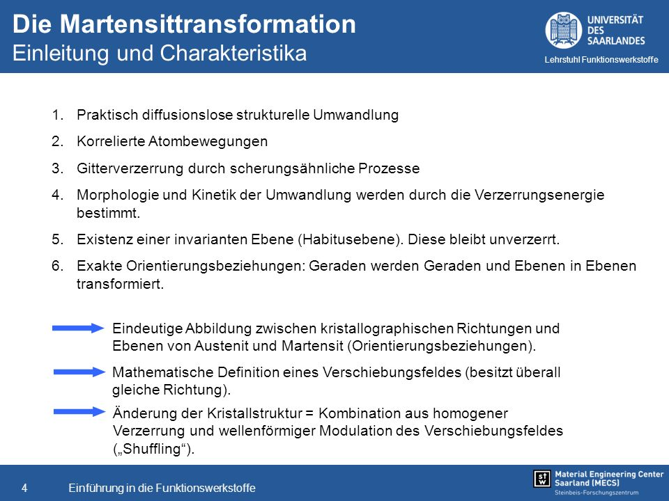 Einführung in die Funktionswerkstoffe5 Lehrstuhl Funktionswerkstoffe Martensittranformation Selbstakkommodation [Quelle: Kaack et al.]