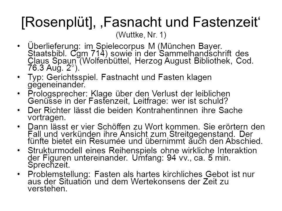 [Rosenplüt], Fasnacht und Fastenzeit (Wuttke, Nr. 1) Überlieferung: im Spielecorpus M (München Bayer. Staatsbibl. Cgm 714) sowie in der Sammelhandschr