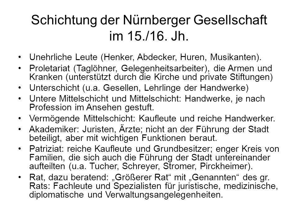 Schichtung der Nürnberger Gesellschaft im 15./16. Jh. Unehrliche Leute (Henker, Abdecker, Huren, Musikanten). Proletariat (Taglöhner, Gelegenheitsarbe