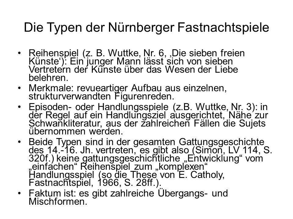 Die Typen der Nürnberger Fastnachtspiele Reihenspiel (z. B. Wuttke, Nr. 6, Die sieben freien Künste): Ein junger Mann lässt sich von sieben Vertretern