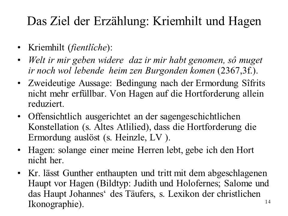 14 Das Ziel der Erzählung: Kriemhilt und Hagen Kriemhilt (fientlîche): Welt ir mir geben widere daz ir mir habt genomen, sô muget ir noch wol lebende