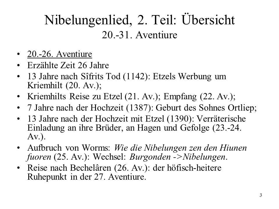 3 Nibelungenlied, 2. Teil: Übersicht 20.-31. Aventiure 20.-26. Aventiure Erzählte Zeit 26 Jahre 13 Jahre nach Sîfrits Tod (1142): Etzels Werbung um Kr