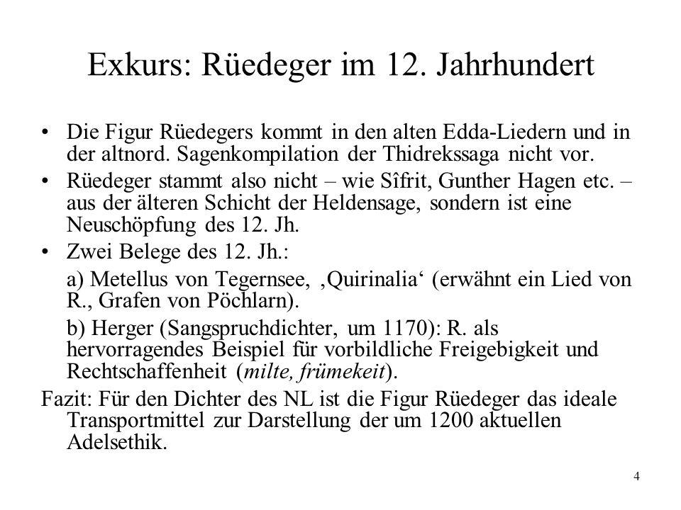 4 Exkurs: Rüedeger im 12. Jahrhundert Die Figur Rüedegers kommt in den alten Edda-Liedern und in der altnord. Sagenkompilation der Thidrekssaga nicht