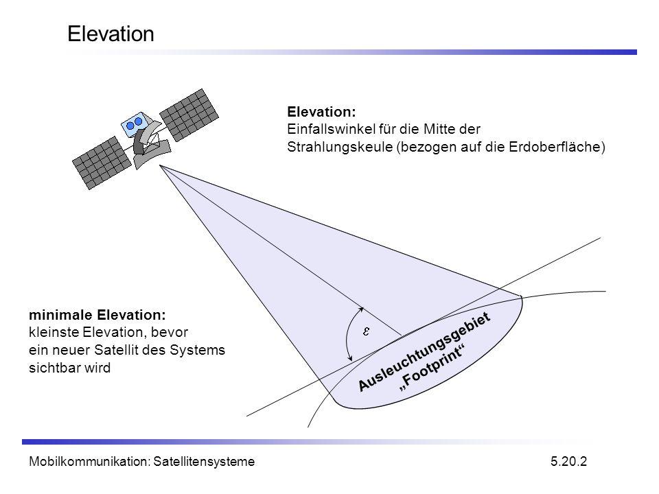 Mobilkommunikation: Satellitensysteme Übertragungsleistung von Satelliten Parameter wie Dämpfung oder empfangene Leistung werden von vier Werten bestimmt: Sendeleistung Antennengewinn (Sender) Abstand von Sender und Empfänger Antennengewinn (Empfänger) Probleme schwankende Signalstärke auf Grund der Mehrwegeausbreitung Signalunterbrechung auf Grund von Abschattungen (keine LOS) Mögliche Lösungen Signalschwankungen können durch Leistungsreserven ausgeglichen werden Satelliten Diversität hilft bei geringerer Sendeleistung (Einsatz mehrerer gleichzeitig sichtbarer Satelliten) 5.23.1 L: Loss f: carrier frequency r: distance c: speed of light