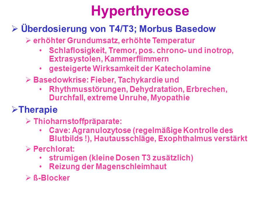 Hyperthyreose Überdosierung von T4/T3; Morbus Basedow erhöhter Grundumsatz, erhöhte Temperatur Schlaflosigkeit, Tremor, pos. chrono- und inotrop, Extr