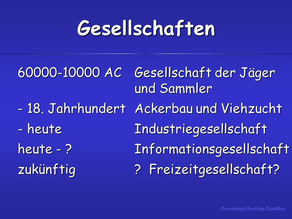 60000-10000 AC Gesellschaft der Jäger und Sammler - 18. JahrhundertAckerbau und Viehzucht - heuteIndustriegesellschaft heute - ?Informationsgesellscha