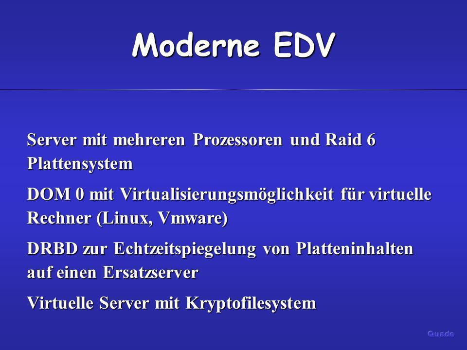 Moderne EDV Server mit mehreren Prozessoren und Raid 6 Plattensystem DOM 0 mit Virtualisierungsmöglichkeit für virtuelle Rechner (Linux, Vmware) DRBD