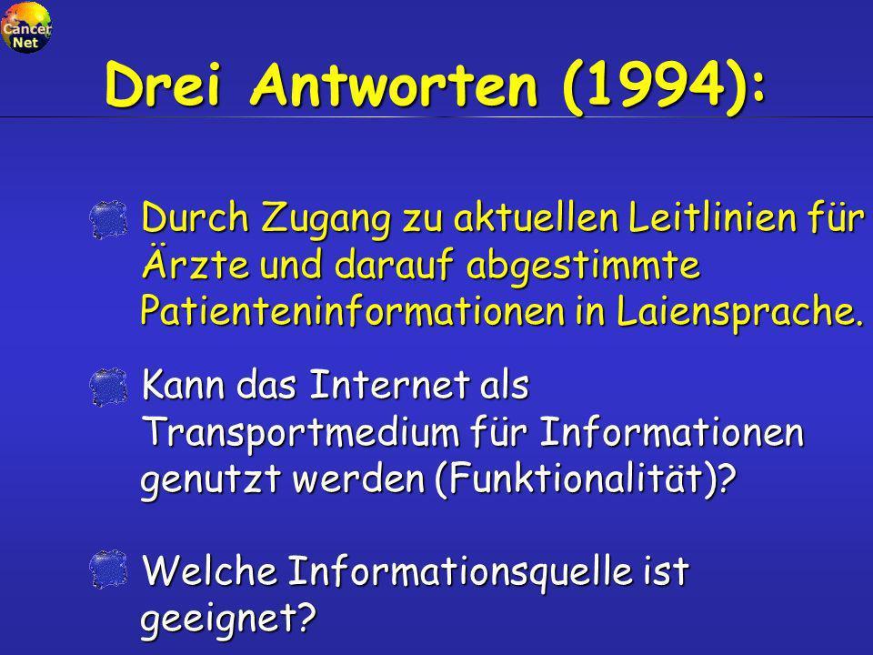 Kann das Internet als Transportmedium für Informationen genutzt werden (Funktionalität)? Welche Informationsquelle ist geeignet? Drei Antworten (1994)