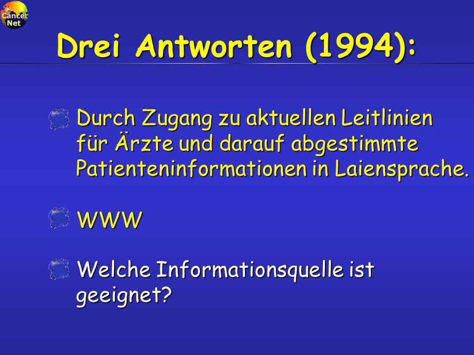 Welche Informationsquelle ist geeignet? Drei Antworten (1994): WWW