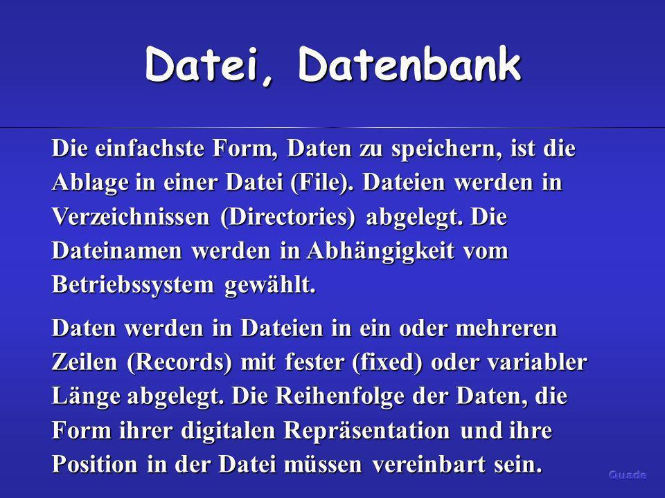 Datei, Datenbank Die einfachste Form, Daten zu speichern, ist die Ablage in einer Datei (File). Dateien werden in Verzeichnissen (Directories) abgeleg