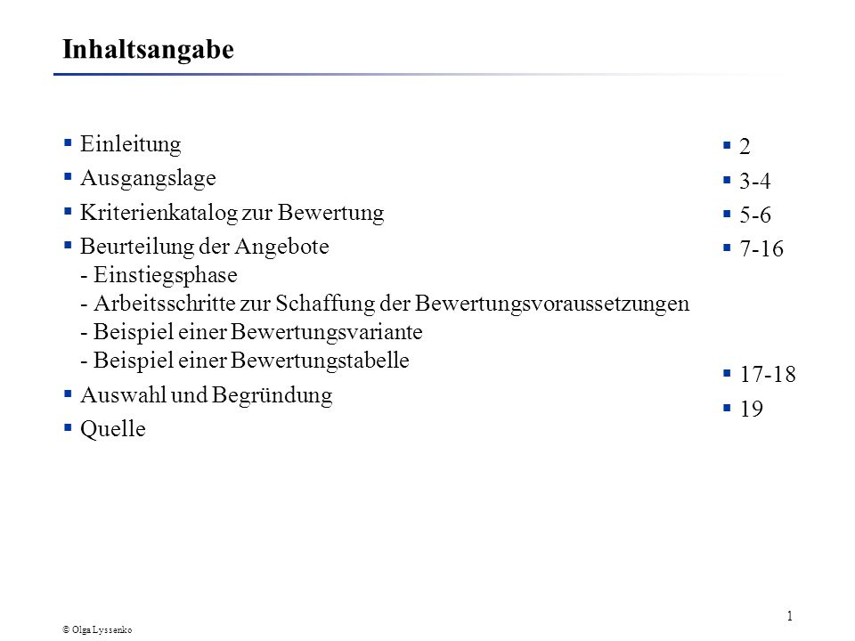 Angebotsbewertung Fachhochschule Dortmund Seminar IT-Consulting, Sommersemester 2002 Autor: Olga Lyssenko-Miljukow