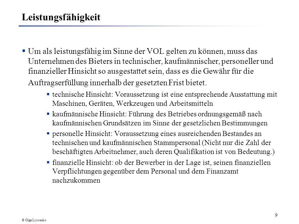 © Olga Lyssenko 19 Quellen http://www.iese.fraunhofer.de Glogau, D., Hein, M., Ladner, R.: Netzwerk-Ausschreibung.