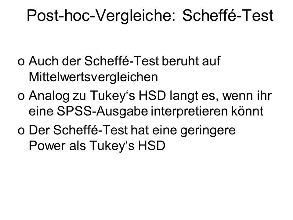 Post-hoc-Vergleiche: Scheffé-Test oAuch der Scheffé-Test beruht auf Mittelwertsvergleichen oAnalog zu Tukeys HSD langt es, wenn ihr eine SPSS-Ausgabe