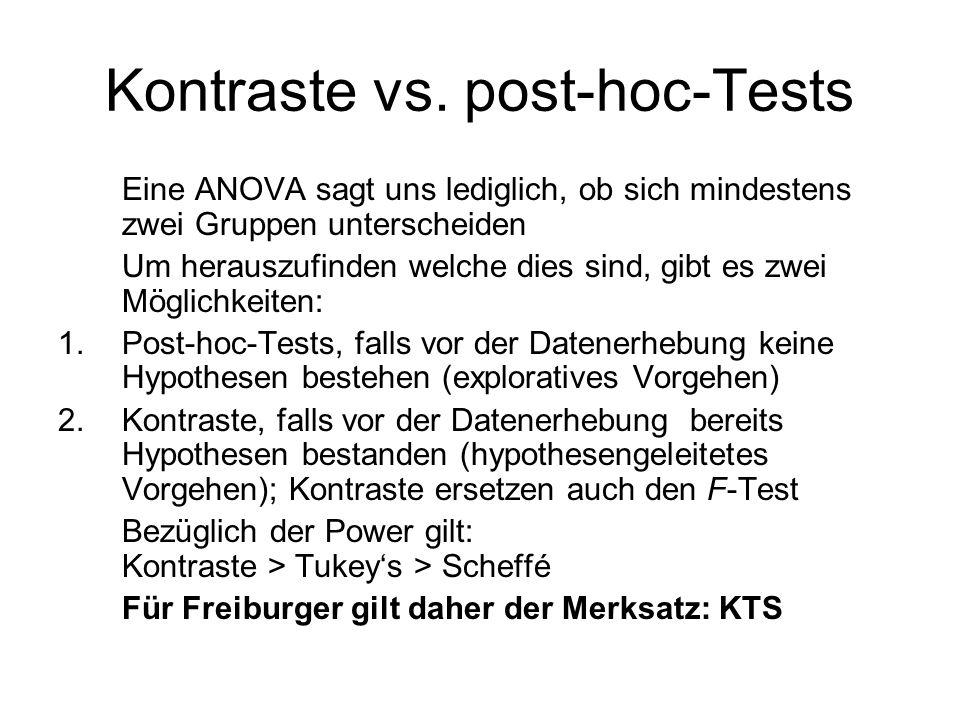 Kontraste vs. post-hoc-Tests Eine ANOVA sagt uns lediglich, ob sich mindestens zwei Gruppen unterscheiden Um herauszufinden welche dies sind, gibt es