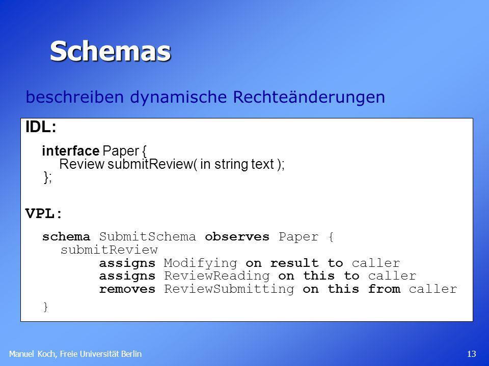 Manuel Koch, Freie Universität Berlin 13 IDL: interface Paper { Review submitReview( in string text ); }; VPL: schema SubmitSchema observes Paper { su