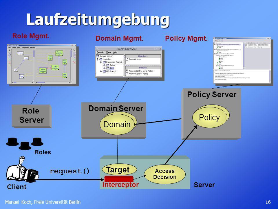 Manuel Koch, Freie Universität Berlin 16 Server Laufzeitumgebung Target Access Decision request() Domain Server Domain Policy Server Policy Role Mgmt.