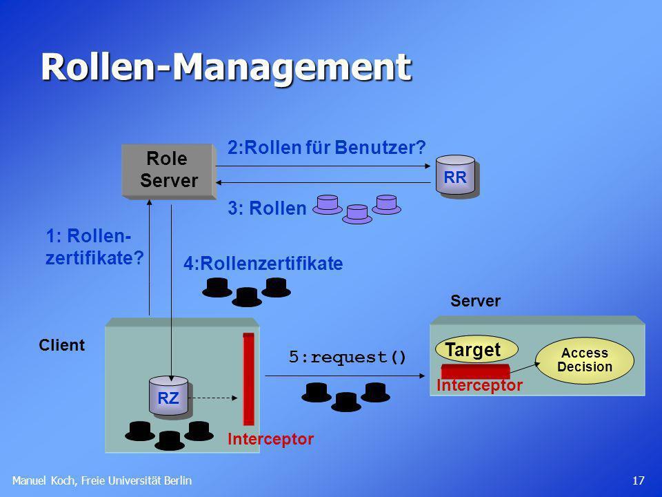 Manuel Koch, Freie Universität Berlin 17 Rollen-Management Client Role Server 1: Rollen- zertifikate? RR 2:Rollen für Benutzer? 3: Rollen Target Acces