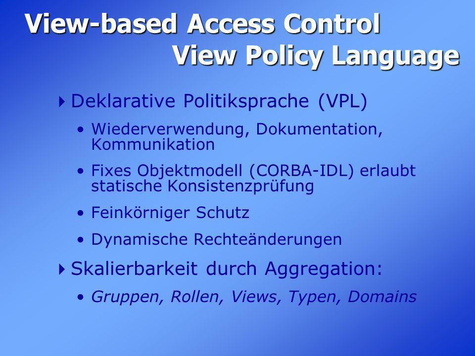 View-based Access Control View Policy Language Deklarative Politiksprache (VPL) Wiederverwendung, Dokumentation, Kommunikation Fixes Objektmodell (COR