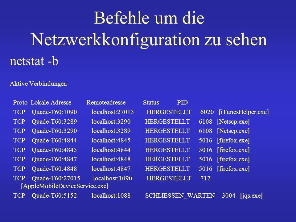 Befehle um die Netzwerkkonfiguration zu sehen netstat -ano Aktive Verbindungen Proto Lokale Adresse Remoteadresse Status PID TCP 0.0.0.0:80 0.0.0.0:0 ABHÖREN 7128 TCP 0.0.0.0:135 0.0.0.0:0 ABHÖREN 552 TCP 0.0.0.0:445 0.0.0.0:0 ABHÖREN 4 TCP 0.0.0.0:2869 0.0.0.0:0 ABHÖREN 1076 TCP 0.0.0.0:5800 0.0.0.0:0 ABHÖREN 2808 TCP 0.0.0.0:5900 0.0.0.0:0 ABHÖREN 2808 TCP 0.0.0.0:6060 0.0.0.0:0 ABHÖREN 684 TCP 0.0.0.0:10243 0.0.0.0:0 ABHÖREN 2632 TCP 0.0.0.0:31038 0.0.0.0:0 ABHÖREN 2024 TCP 127.0.0.1:1036 0.0.0.0:0 ABHÖREN 1912