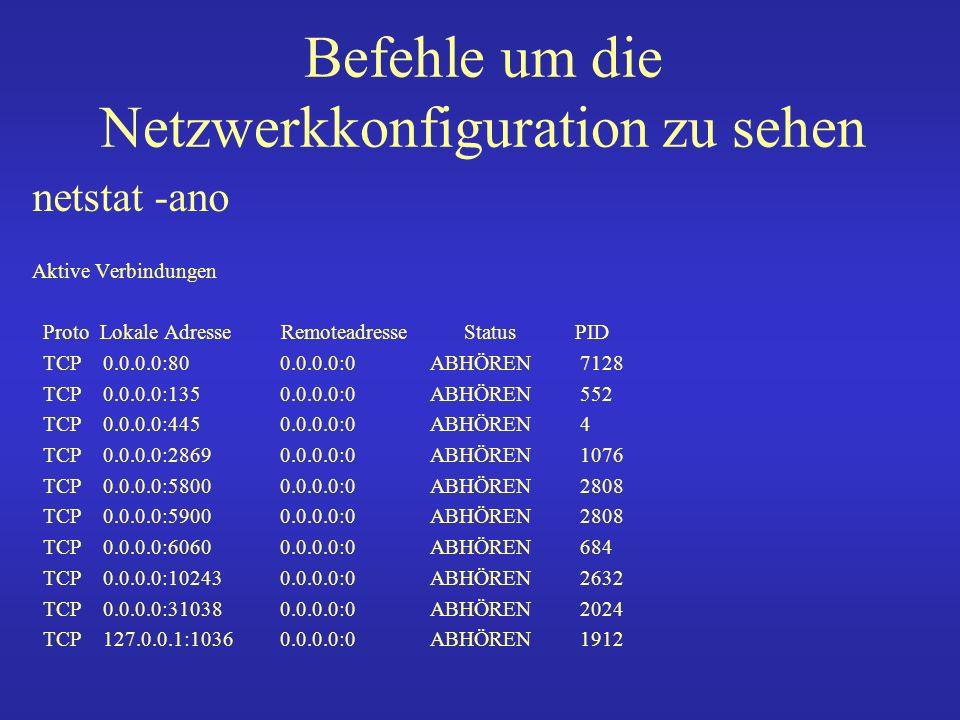 Befehle um die Netzwerkkonfiguration zu sehen arp -a Address HWtype HWaddress Flags Mask iface www.dsmrsvpaed.de ether 00:16:3e:57:90:23 C br0 www.oncopaednki.de ether 00:16:3e:57:90:23 C br0 linkdb.meb.uni-bonn.de ether 00:16:3e:35:c1:5e C br0 famhap.meb.uni-bonn.de ether 00:16:3e:35:c1:5e C br0 www-dom0.meb.uni-bonn.d ether 00:15:17:ab:ae:fe C br0 nmap 131.220.23.0/24 Interesting ports on Jumbo-dom0.meb.uni-bonn.de (131.220.23.181): Not shown: 998 closed ports PORT STATE SERVICE 22/tcp open ssh 111/tcp open rpcbind MAC Address: 00:30:48:20:0C:D4 (Supermicro Computer)