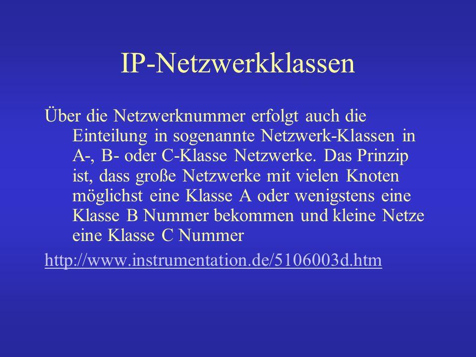 IP-Netzwerkklassen Klasse A (1.0.0.0 bis 127.255.255.255): Das erste Bit der Adresse ist auf Null gesetzt.