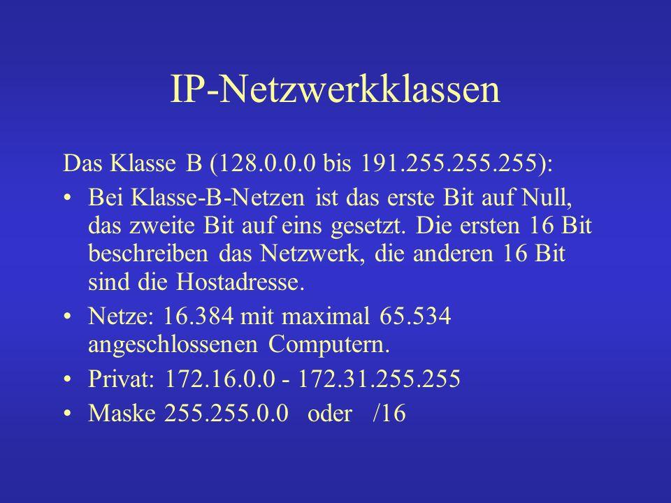 IP-Netzwerkklassen Klasse C (192.0.0.0 bis 223.255.255.255) : Diese Netzwerkart erlaubt nur 255 Hosts in einem Netz.