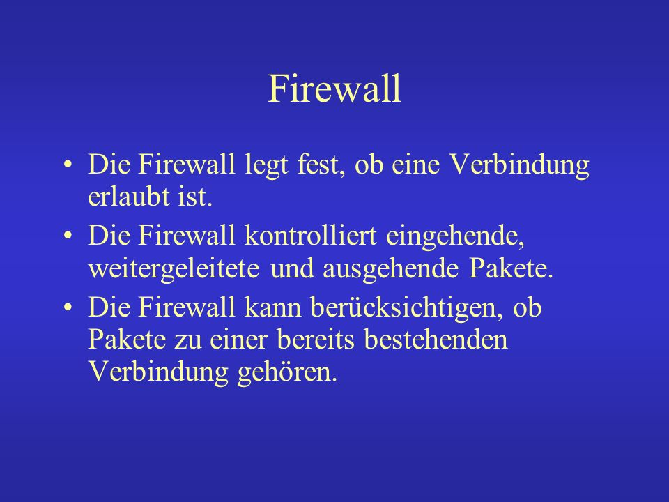 Firewall iptables -A INPUT -i eth0 -p ICMP -j ACCEPT iptables -A OUTPUT -o eth0 -p ICMP -j DROP