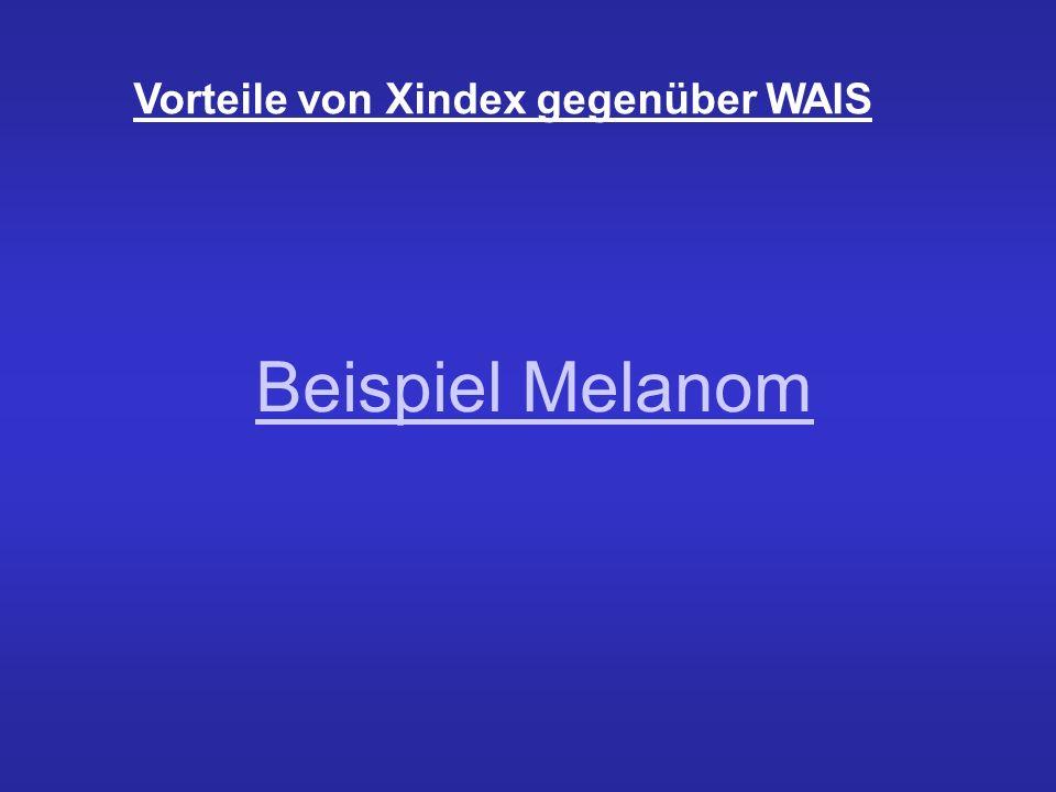 Vorteile von Xindex Es werden seltene Entitäten gefunden: Suche nach Melanom liefert Informationen zum Wilms Tumor Dieser steht in Verbindung zum clearcellsarcoma einer seltenen Form des Melanoms Erkennen von Synonymen z.B.