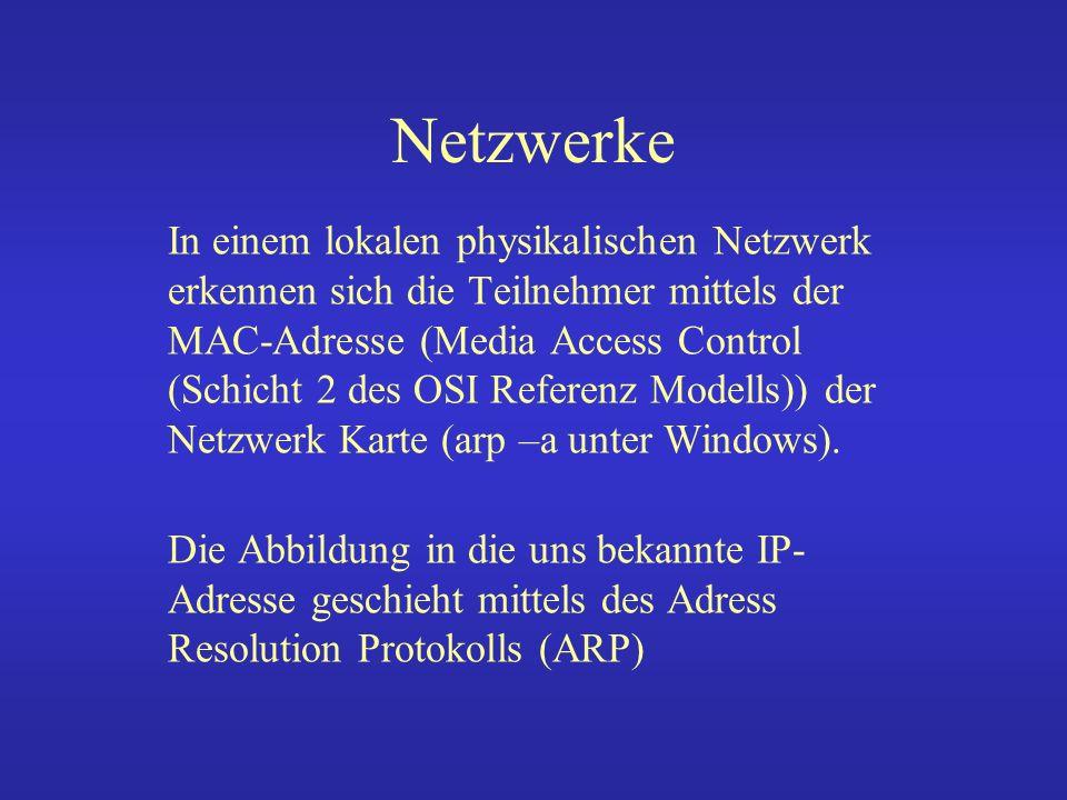 IP-Netzwerkadressen Eine IP-Adresse besteht aus 4 Zahlen zwischen 0 und 255.
