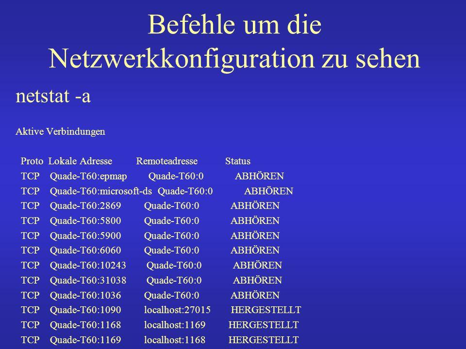 Befehle um die Netzwerkkonfiguration zu sehen netstat -b Aktive Verbindungen Proto Lokale Adresse Remoteadresse Status PID TCP Quade-T60:1090 localhost:27015 HERGESTELLT 6020 [iTunesHelper.exe] TCP Quade-T60:3289 localhost:3290 HERGESTELLT 6108 [Netscp.exe] TCP Quade-T60:3290 localhost:3289 HERGESTELLT 6108 [Netscp.exe] TCP Quade-T60:4844 localhost:4845 HERGESTELLT 5016 [firefox.exe] TCP Quade-T60:4845 localhost:4844 HERGESTELLT 5016 [firefox.exe] TCP Quade-T60:4847 localhost:4848 HERGESTELLT 5016 [firefox.exe] TCP Quade-T60:4848 localhost:4847 HERGESTELLT 5016 [firefox.exe] TCP Quade-T60:27015 localhost:1090 HERGESTELLT 712 [AppleMobileDeviceService.exe] TCP Quade-T60:5152 localhost:1088 SCHLIESSEN_WARTEN 3004 [jqs.exe]
