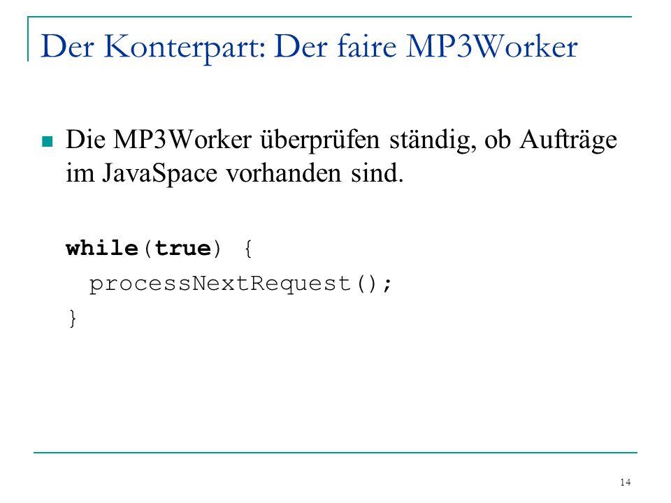 14 Der Konterpart: Der faire MP3Worker Die MP3Worker überprüfen ständig, ob Aufträge im JavaSpace vorhanden sind.