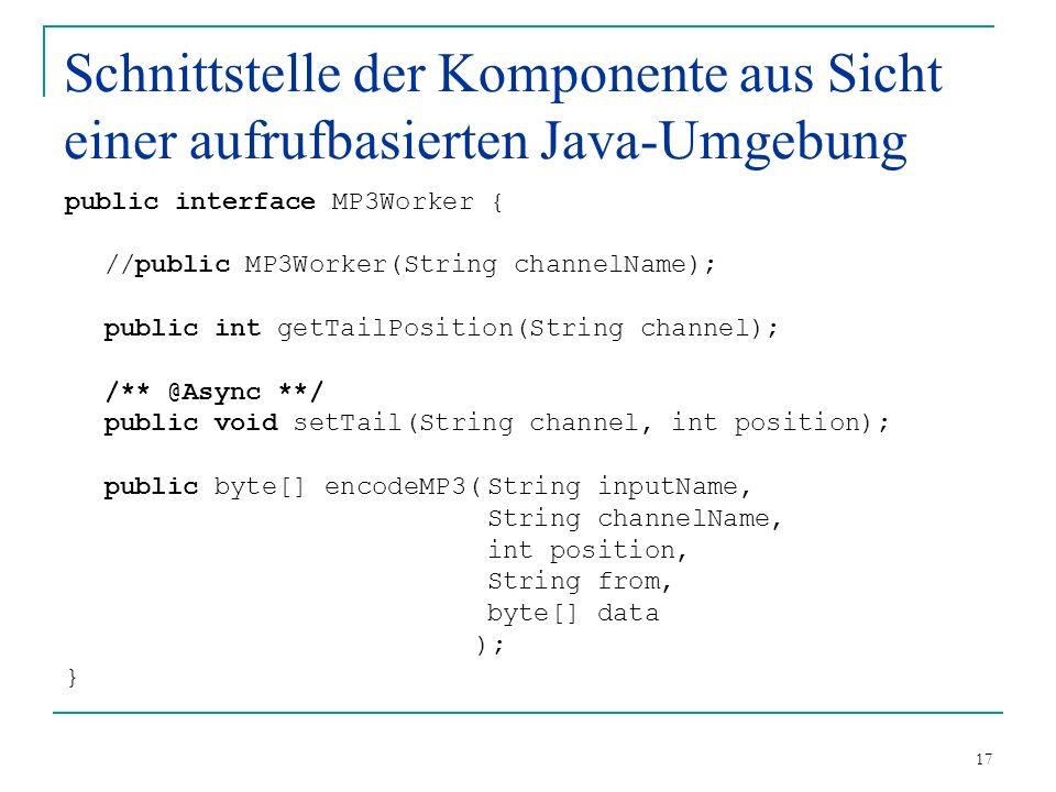 17 Schnittstelle der Komponente aus Sicht einer aufrufbasierten Java-Umgebung public interface MP3Worker { //public MP3Worker(String channelName); public int getTailPosition(String channel); /** @Async **/ public void setTail(String channel, int position); public byte[] encodeMP3(String inputName, String channelName, int position, String from, byte[] data ); }