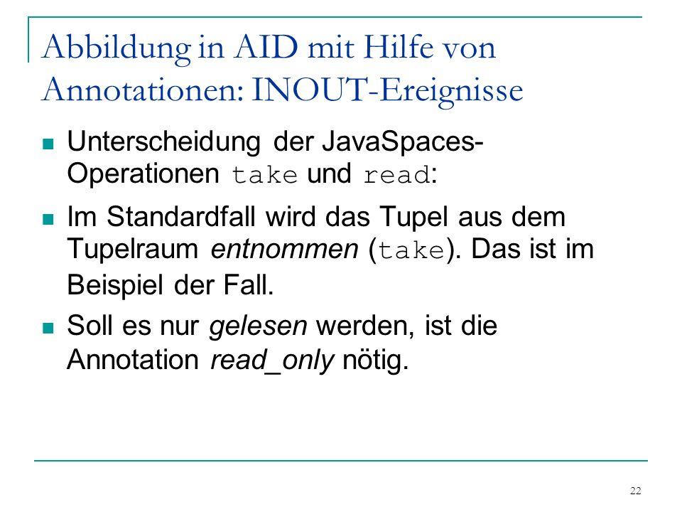 22 Abbildung in AID mit Hilfe von Annotationen: INOUT-Ereignisse Unterscheidung der JavaSpaces- Operationen take und read : Im Standardfall wird das Tupel aus dem Tupelraum entnommen ( take ).
