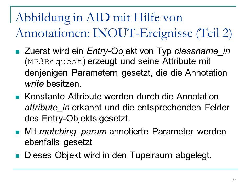 27 Abbildung in AID mit Hilfe von Annotationen: INOUT-Ereignisse (Teil 2) Zuerst wird ein Entry-Objekt von Typ classname_in ( MP3Request ) erzeugt und seine Attribute mit denjenigen Parametern gesetzt, die die Annotation write besitzen.