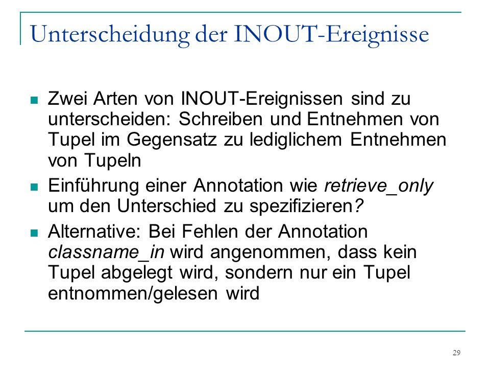 29 Unterscheidung der INOUT-Ereignisse Zwei Arten von INOUT-Ereignissen sind zu unterscheiden: Schreiben und Entnehmen von Tupel im Gegensatz zu lediglichem Entnehmen von Tupeln Einführung einer Annotation wie retrieve_only um den Unterschied zu spezifizieren.