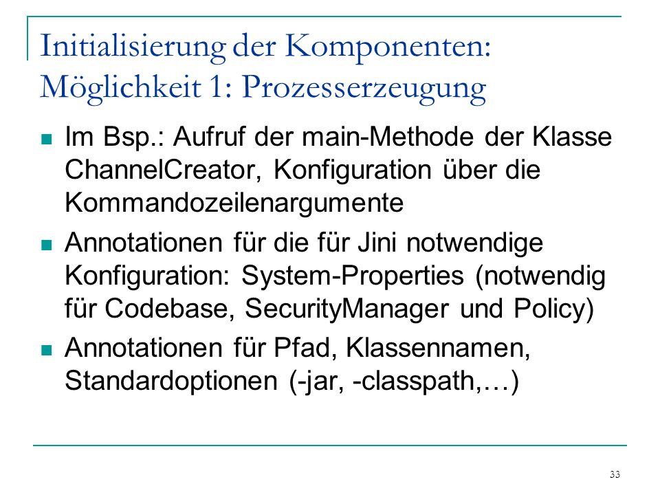 33 Initialisierung der Komponenten: Möglichkeit 1: Prozesserzeugung Im Bsp.: Aufruf der main-Methode der Klasse ChannelCreator, Konfiguration über die Kommandozeilenargumente Annotationen für die für Jini notwendige Konfiguration: System-Properties (notwendig für Codebase, SecurityManager und Policy) Annotationen für Pfad, Klassennamen, Standardoptionen (-jar, -classpath,…)