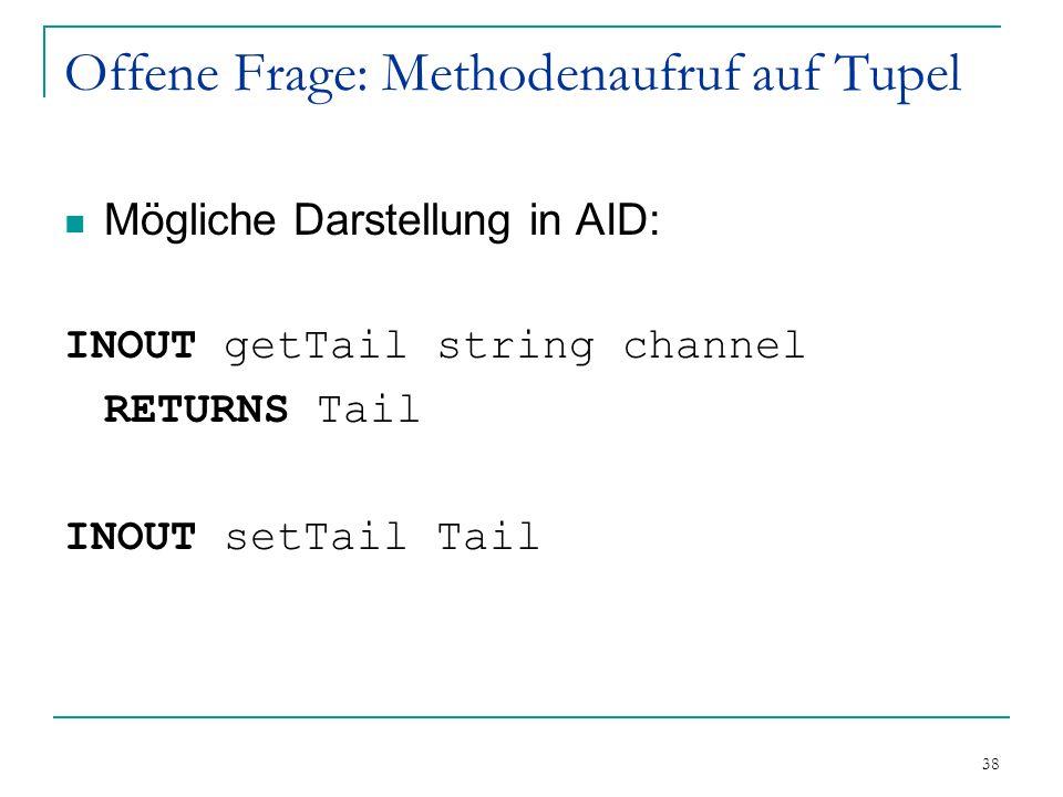 38 Offene Frage: Methodenaufruf auf Tupel Mögliche Darstellung in AID: INOUT getTail string channel RETURNS Tail INOUT setTail Tail