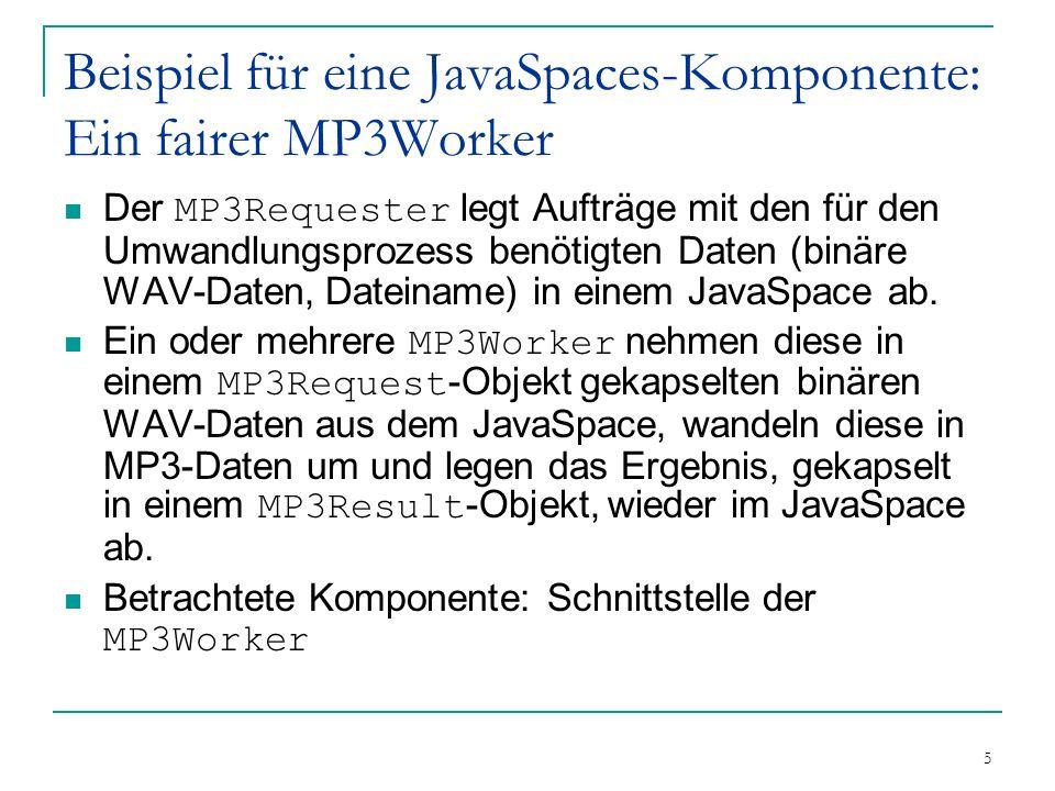 5 Beispiel für eine JavaSpaces-Komponente: Ein fairer MP3Worker Der MP3Requester legt Aufträge mit den für den Umwandlungsprozess benötigten Daten (binäre WAV-Daten, Dateiname) in einem JavaSpace ab.