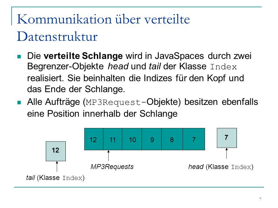 7 Kommunikation über verteilte Datenstruktur Die verteilte Schlange wird in JavaSpaces durch zwei Begrenzer-Objekte head und tail der Klasse Index realisiert.
