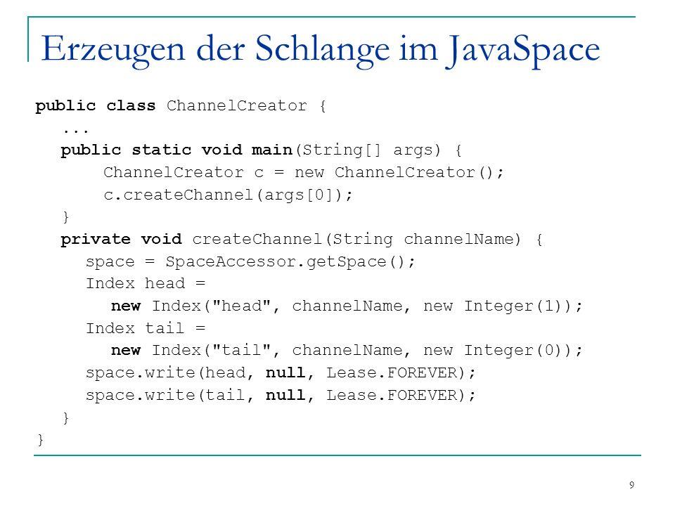 9 Erzeugen der Schlange im JavaSpace public class ChannelCreator {...
