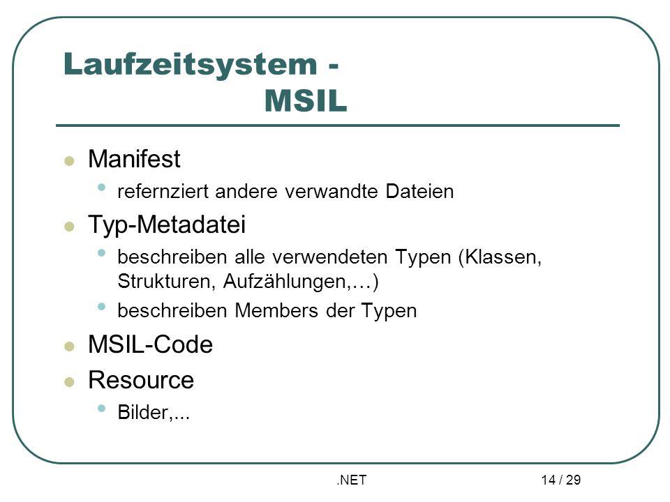 .NET 14 / 29 Laufzeitsystem - MSIL Manifest refernziert andere verwandte Dateien Typ-Metadatei beschreiben alle verwendeten Typen (Klassen, Strukturen