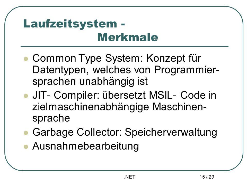 .NET 15 / 29 Laufzeitsystem - Merkmale Common Type System: Konzept für Datentypen, welches von Programmier- sprachen unabhängig ist JIT- Compiler: übe