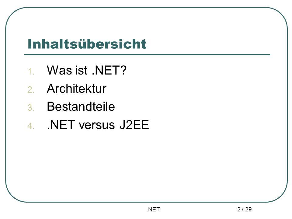 .NET 2 / 29 Inhaltsübersicht 1. Was ist.NET? 2. Architektur 3. Bestandteile 4..NET versus J2EE