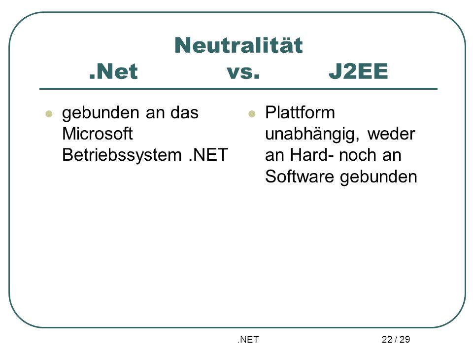 .NET 22 / 29 Neutralität.Net vs. J2EE gebunden an das Microsoft Betriebssystem.NET Plattform unabhängig, weder an Hard- noch an Software gebunden