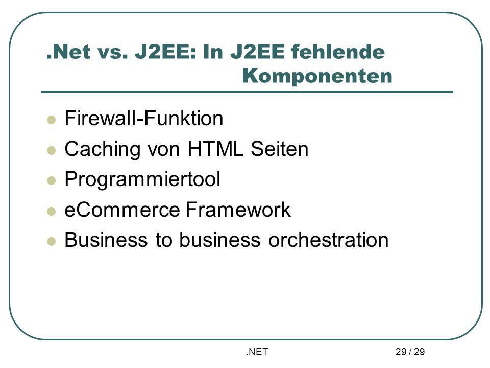 .NET 29 / 29.Net vs. J2EE: In J2EE fehlende Komponenten Firewall-Funktion Caching von HTML Seiten Programmiertool eCommerce Framework Business to busi