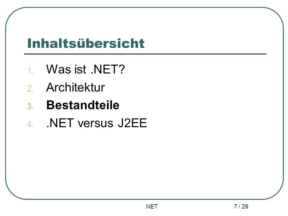 .NET 7 / 29 Inhaltsübersicht 1. Was ist.NET? 2. Architektur 3. Bestandteile 4..NET versus J2EE