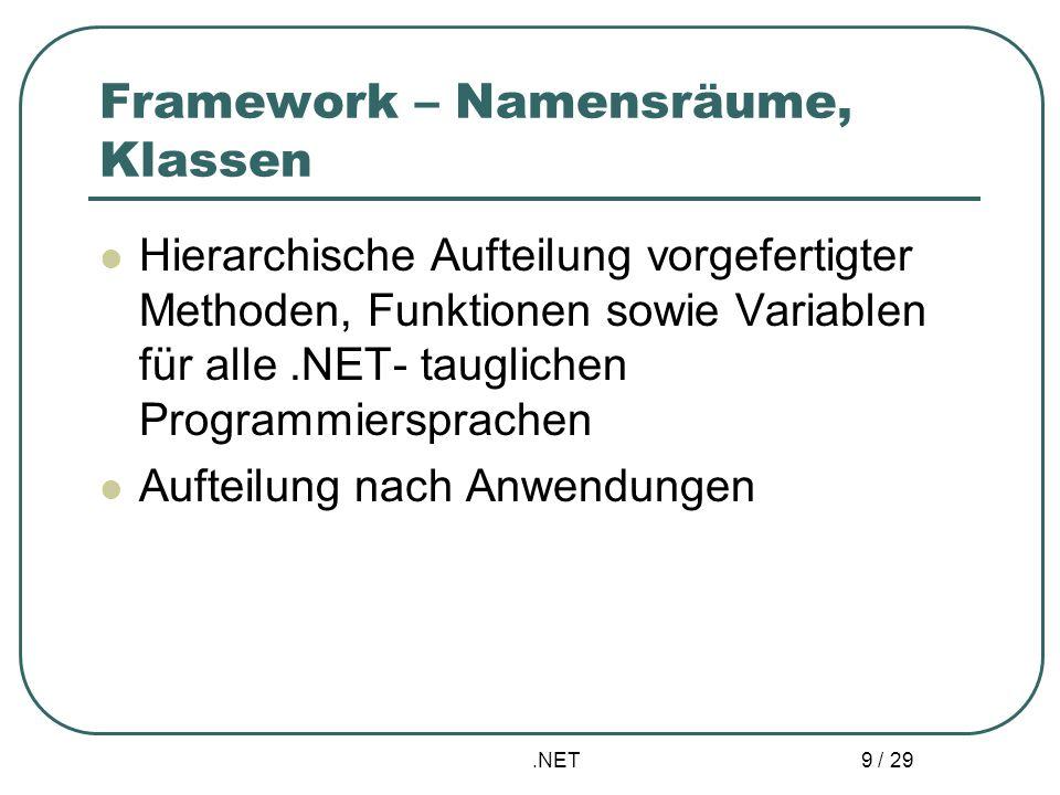 .NET 10 / 29 Bestandteile – Common Language Runtime Laufzeitsystem für alle von.NET unterstützten Sprachen Speicherverwaltung Prozess – und Threadmanagement Durchsetzung der Sicherheitsmechanismen Auflösen der Bezüge auf andere Komponenten