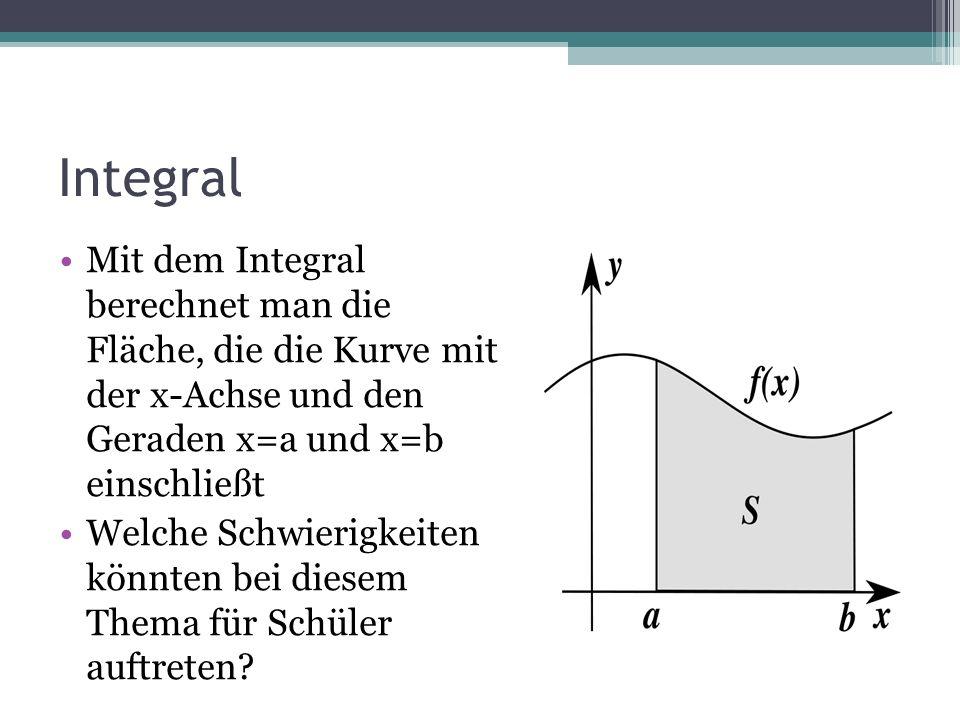 Integral Mit dem Integral berechnet man die Fläche, die die Kurve mit der x-Achse und den Geraden x=a und x=b einschließt Welche Schwierigkeiten könnt
