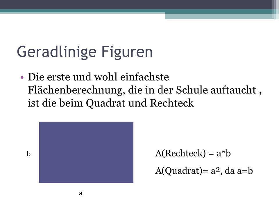 Geradlinige Figuren Die erste und wohl einfachste Flächenberechnung, die in der Schule auftaucht, ist die beim Quadrat und Rechteck a b A(Rechteck) =